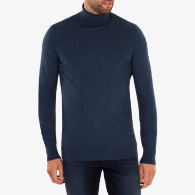 Bari Light Rollkragenpullover, Dark Jeans Melange