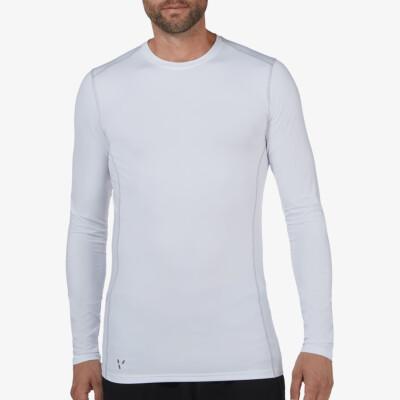 Extra langes Weißes Thermoshirt für Herren. Girav St. Anton, Funktionsunterwäsche, Nanotechnologie, Rundhals-Ausschnitt, Slim Fit