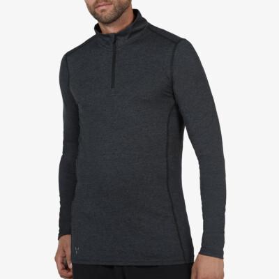 Serfaus Sportshirt mit Reißverschluss, Black Melange