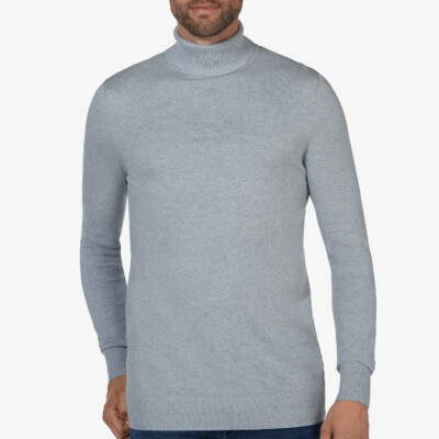 Bari Light turtleneck, Light blue melange