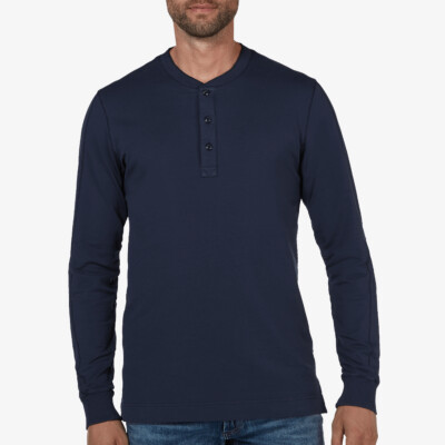 Blackpool Henley Sweater - Garment Dye, Dark Navy