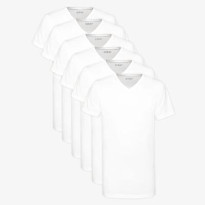 Long T-shirt White V-Neck Regular Fit 100% Cotton Melbourne 6-Pack for Men by Girav