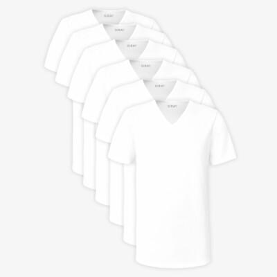 White Long T-shirt New York for Men V-Neck Regular Fit 100% Cotton Sixpack by Girav