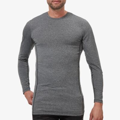Extra langes dunkelgrau meliertes Thermoshirt für Herren. Girav St. Anton, Funktionsunterwäsche, Slim Fit