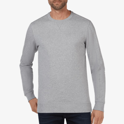 Langes regular fit Girav Cambridge Sweatshirt in grau mit Rundhalsausschnitt für Männer