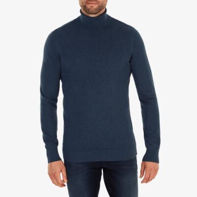 Hamilton Rollkragenpullover, Dark jeans melange
