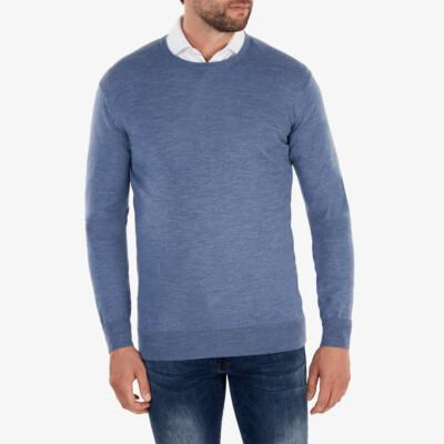Ontario Rundhals Pullover, Light Jeans Melange